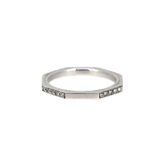 Four Sides Diamond Octagon Stack Ring 14K
