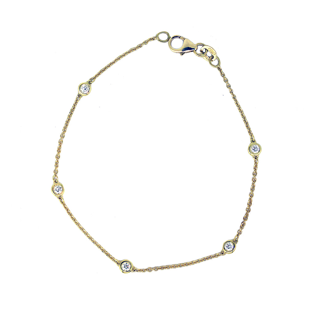 Yellow Gold Diamond Station Bracelet