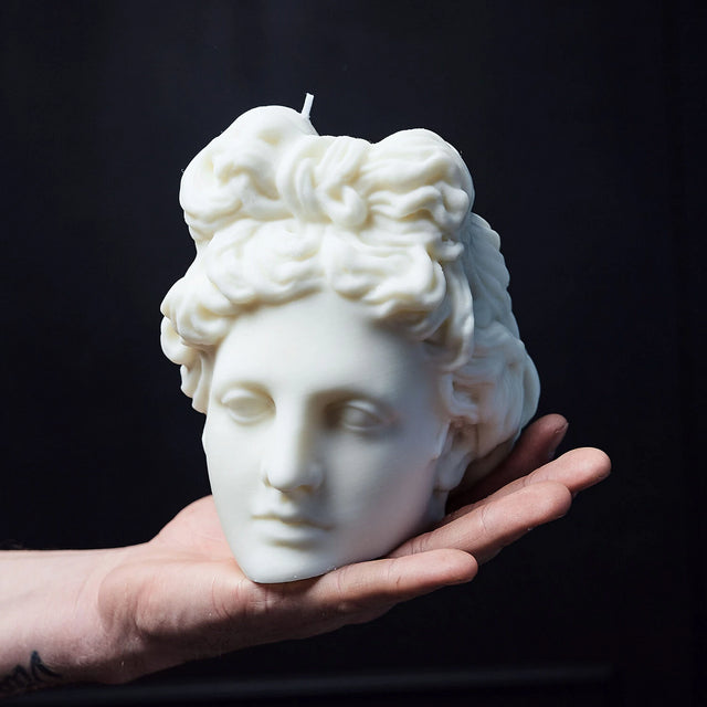 The Busted Gentleman Apollo Sculpture Candle - White Wax