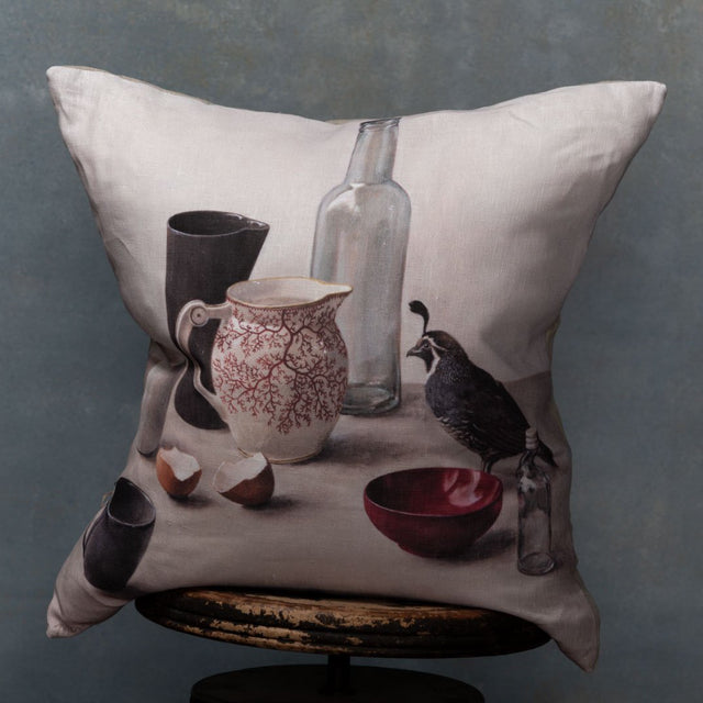 Anita Mertzlin Limited Edition Quail With Red Bowl Linen Cushion