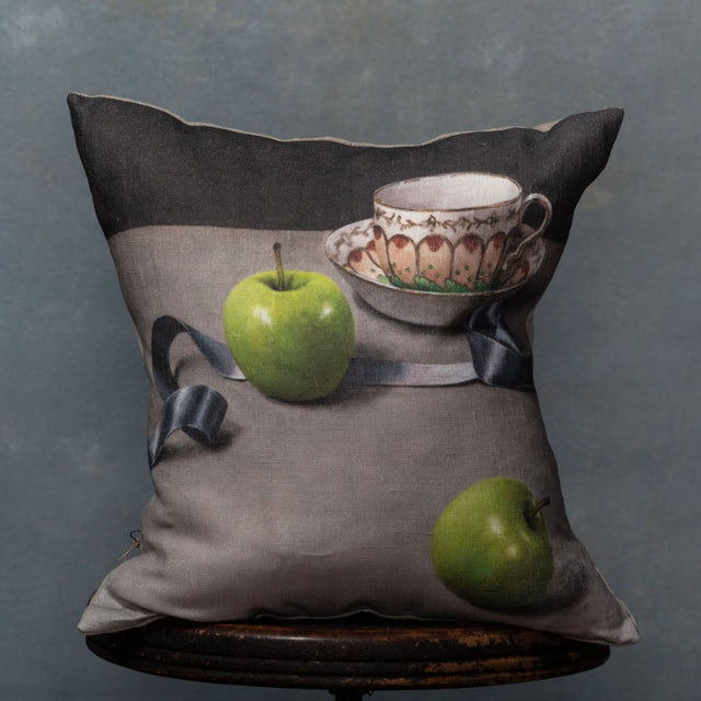 Anita Mertzlin Limited Edition Apples And Ribbons Linen Cushion