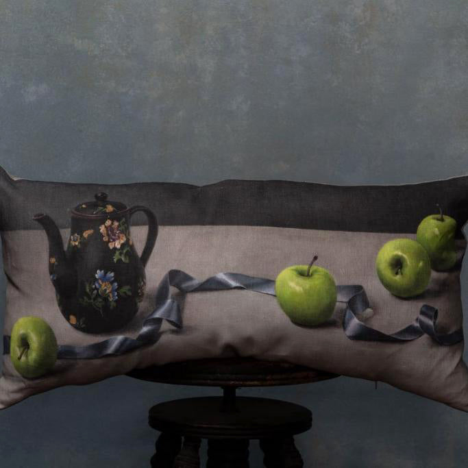 Anita Mertzlin Limited Edition Apples And Ribbons Bolster Linen Cushion