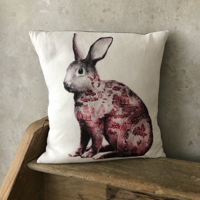 Anita Mertzlin Willow Rabbit Linen Cushion
