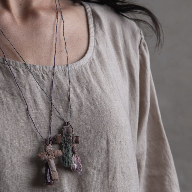 Hand Embroidered Crucifix Necklace