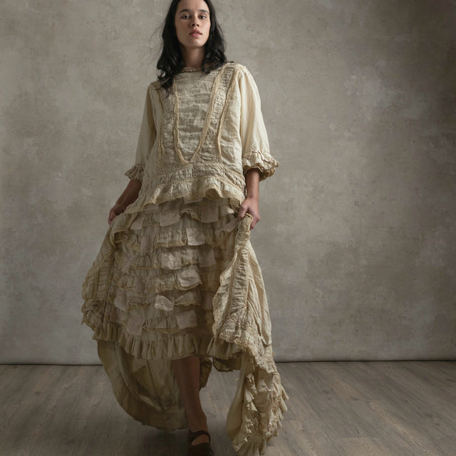 Magnolia Pearl Linen Silk Cotton Hyacinth Gown
