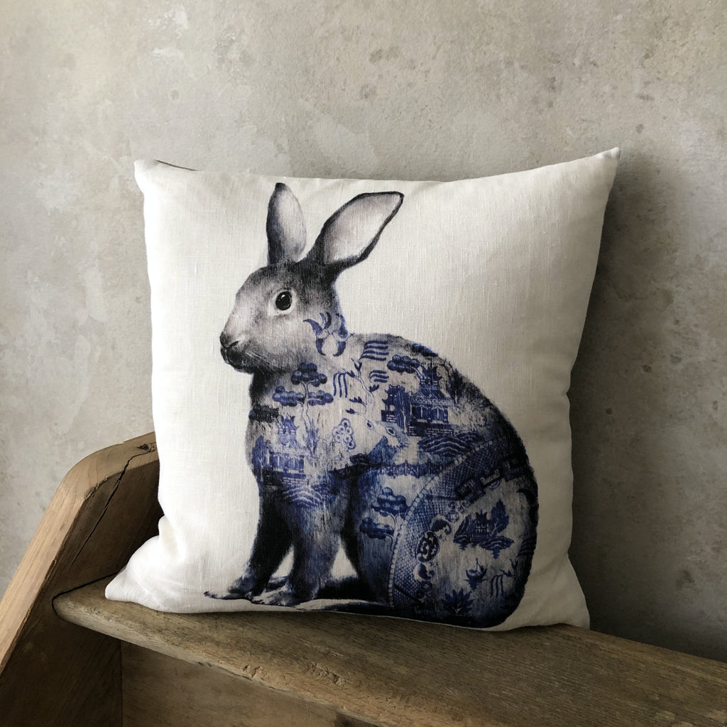Anita Mertzlin Willow Rabbit Print Linen Cushion 40cmx40cm