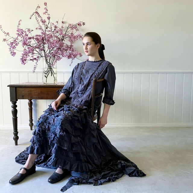 Magnolia Pearl Linen Silk Cotton Hyacinth Gown In Midnight