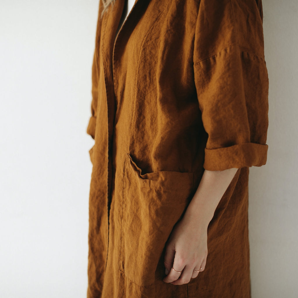 Seaside Tones Linen Coat