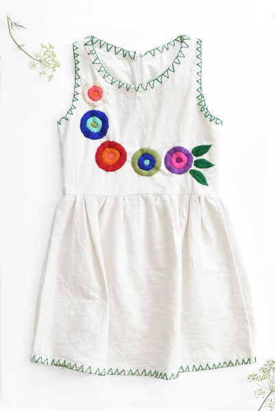 Chiapas Collection:  White Tank Embroidered Dress