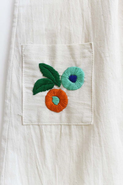 Chiapas Collection:  White Dress Embroidered Pockets