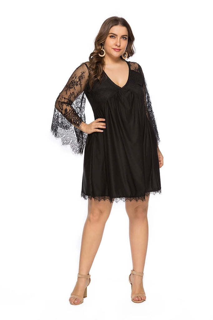 Plus Size Women Black V-Collar Lace Long Sleeve Sexy Dress