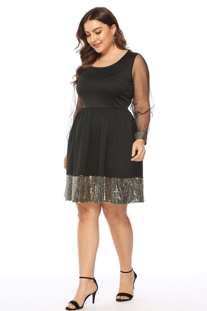 Plus Size Black Lace Long Sleeves Mature Style Elegant Temperament Sexy Slim Sequined Skirt Dress