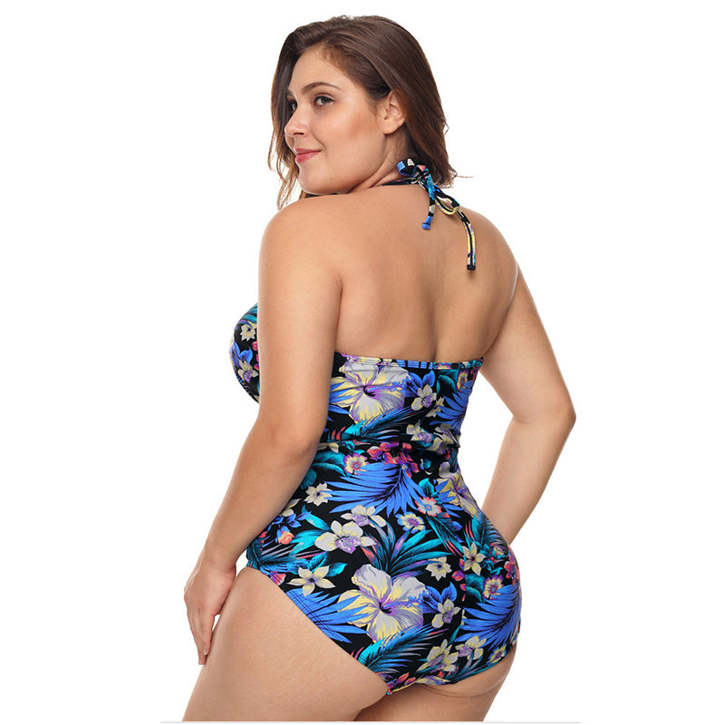 Plus Size One Piece Swimsuits Floral Tummy Control Swimwear Halter