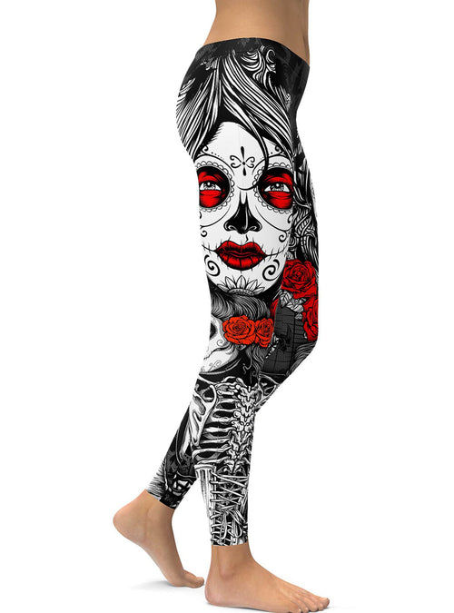 Black Halloween Skeleton Plus Size Sugar Skull Leggings