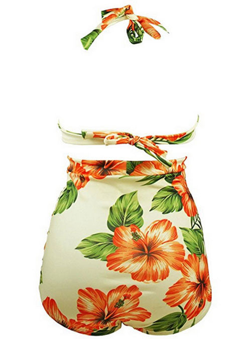 Orange Floral Printed Ruched High Waist Plus Size Halter Bikini Swimsuits
