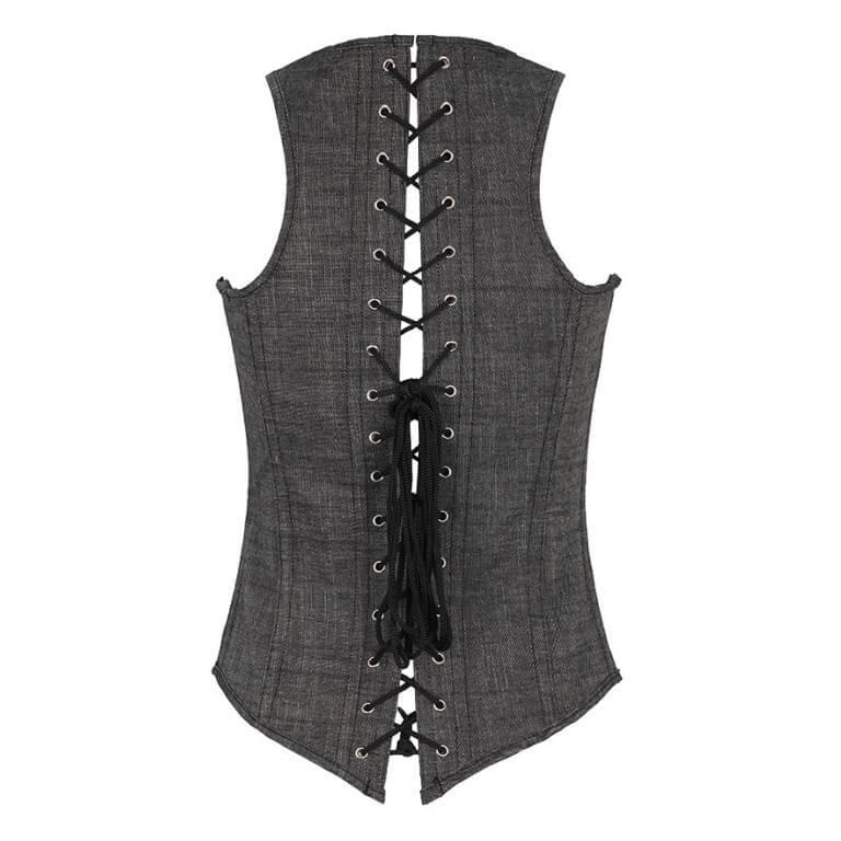 Women Grey Shoulder Straps Lace Up Plus Size Corset