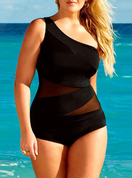 222b80c3ac Black Mesh Inset Single Shoulder One Piece Plus Size Swimsuit