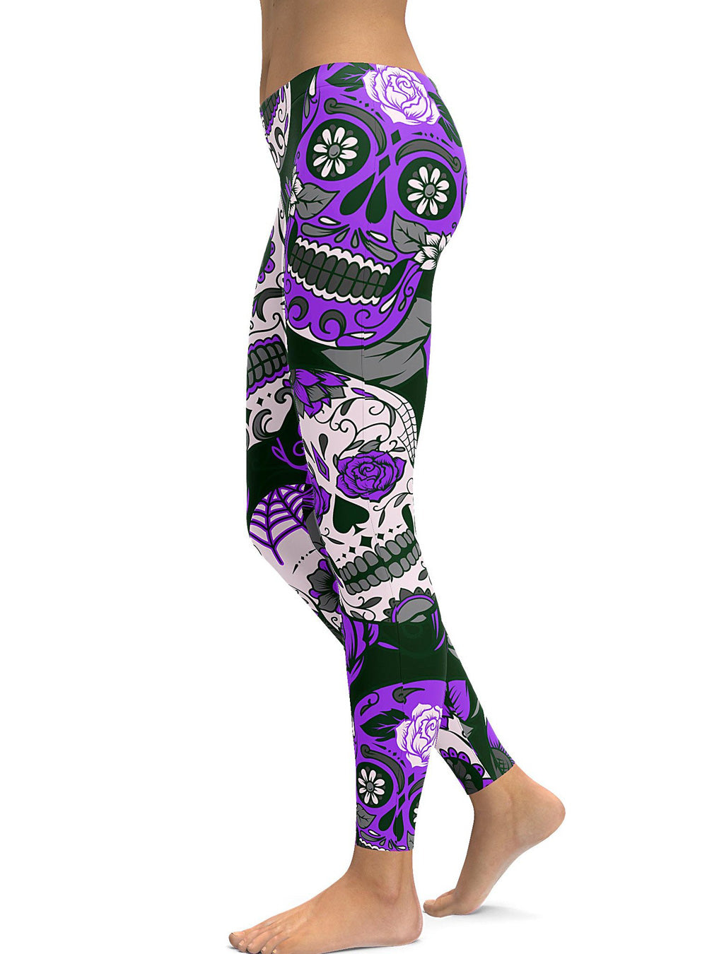 d13b8282fd0 Purple Plus Size Halloween Floral Printed Sugar Skull Leggings – Plus Trendy