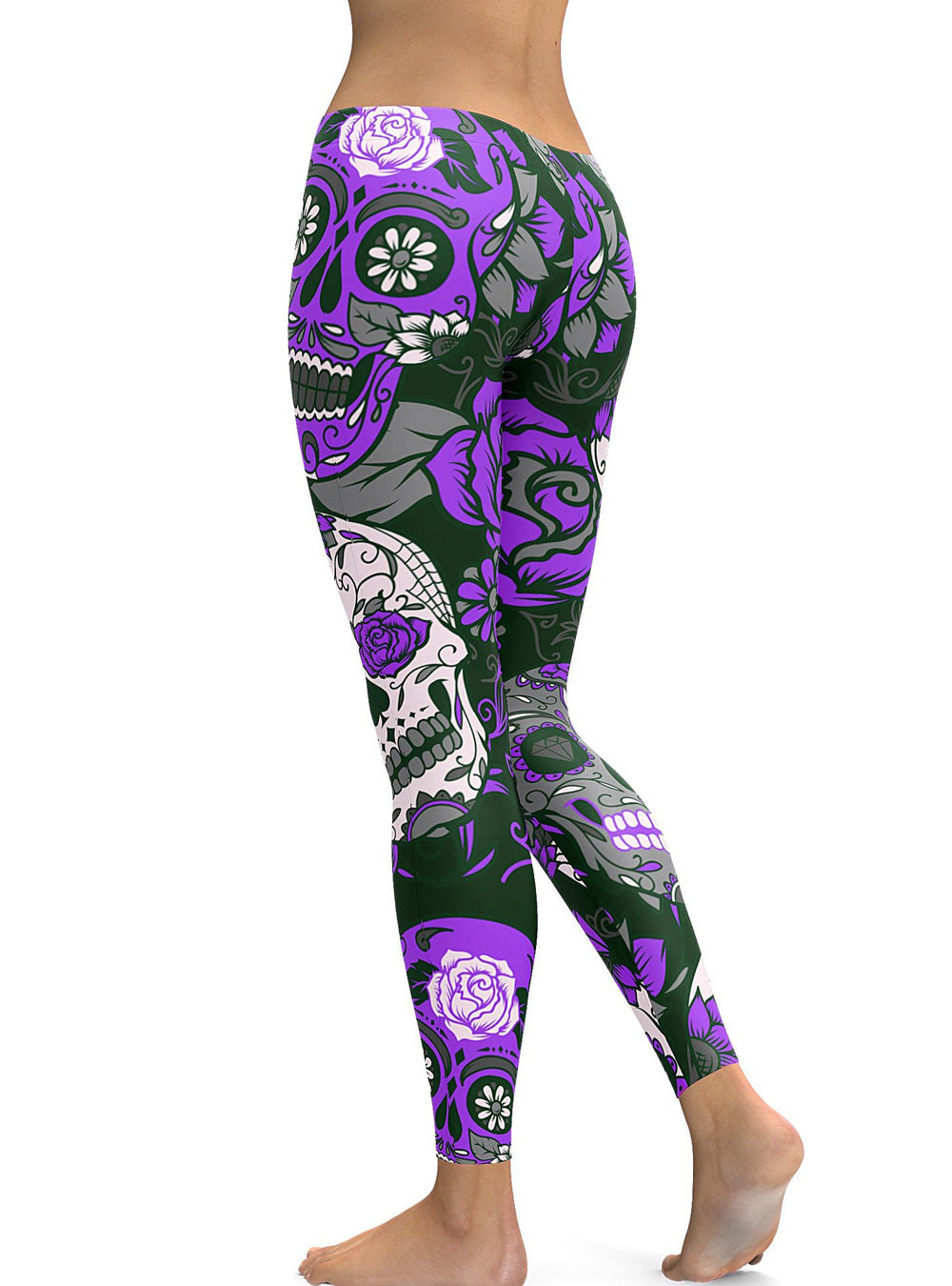 Purple Plus Size Halloween Floral Printed Sugar Skull Leggings