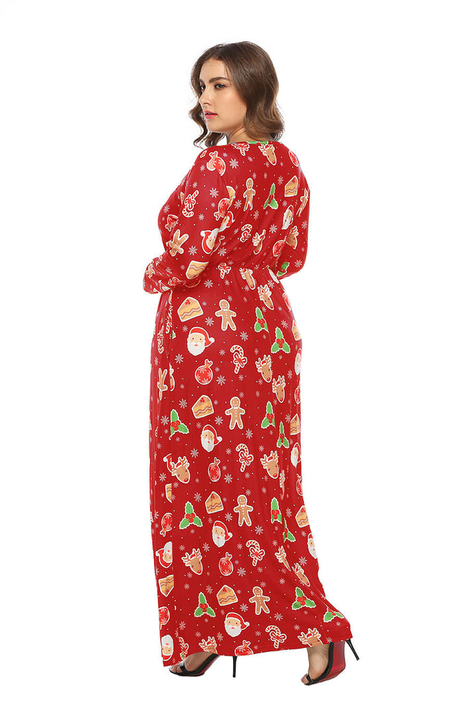 New Plus Size Women Multicolor Christmas Print Long Sleeve Dress