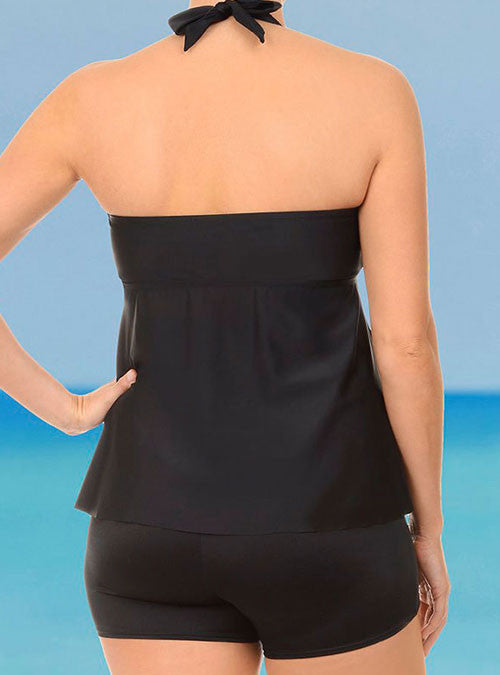 Black Halter Cinch Front Swimsuits