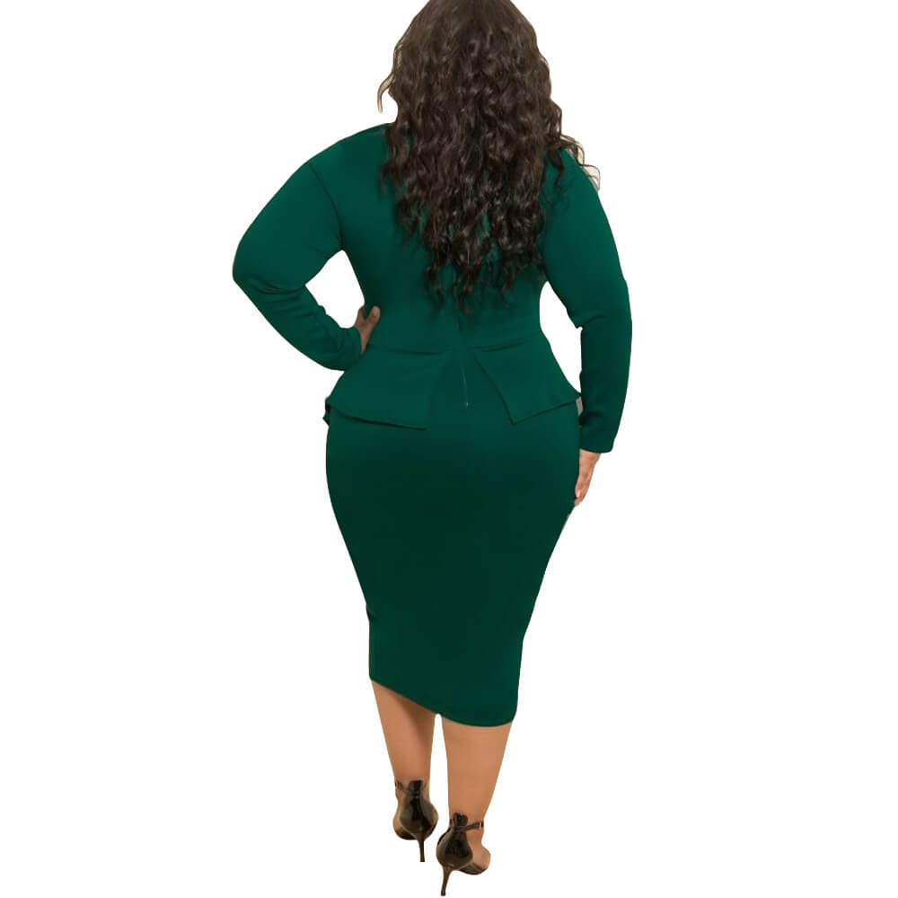 Women's Perfect Sexy Loose Stretchy Plus Size Peplum Dresses with Bowknot