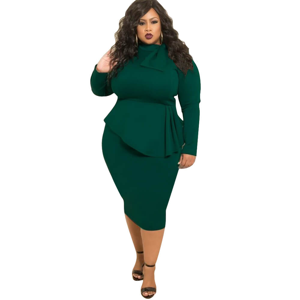 Champion Women's Perfect Sexy Loose Stretchy Plus Size Solid Color Dresses with Bowknot
