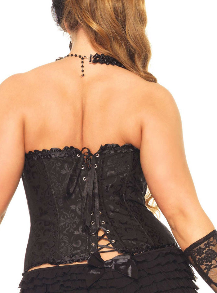 Black Jacquard Lace Up Binder Plus Size  Corset