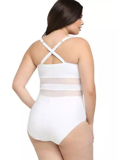 White Mesh Panel Crisscross Back One Piece Plus Size Swimsuit