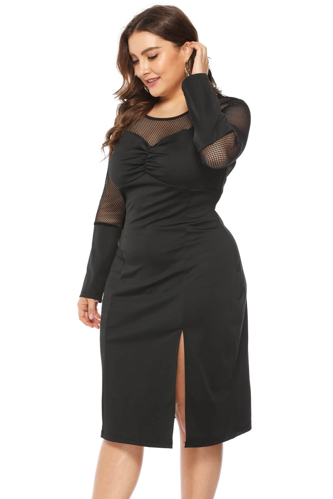 Women Plus Size Sexy Solid Long Sleeve Dress Mesh Perspective Slit Dress