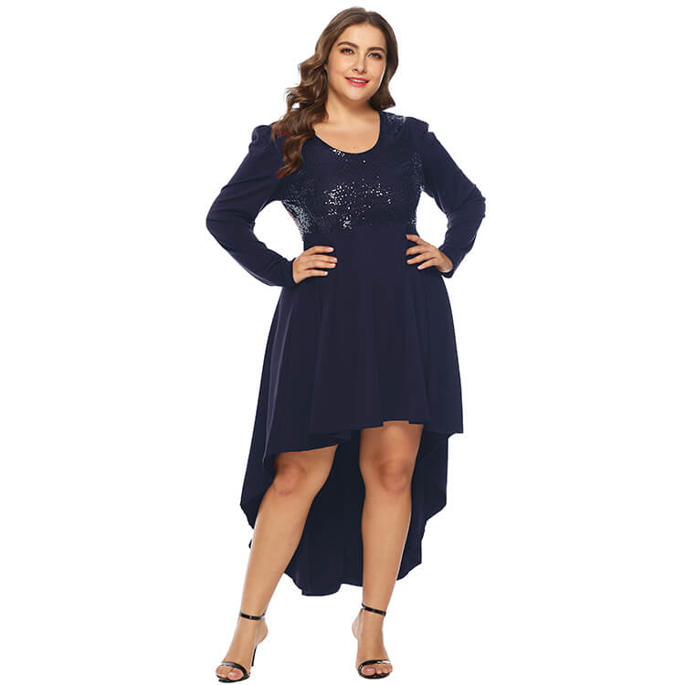 Plus Size Women Solid Color Sequins Crew Neck Sexy Long Sleeves Dress