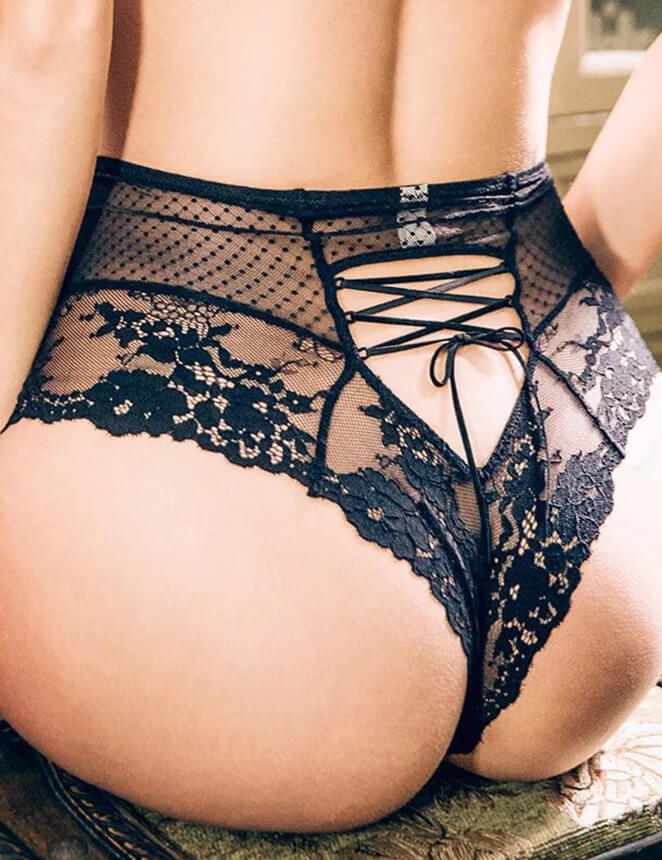 Plus Trendy Womens Plus Size Lingerie Bandage Shorts Panties Brief Sexy Lace High Waisted Briefs