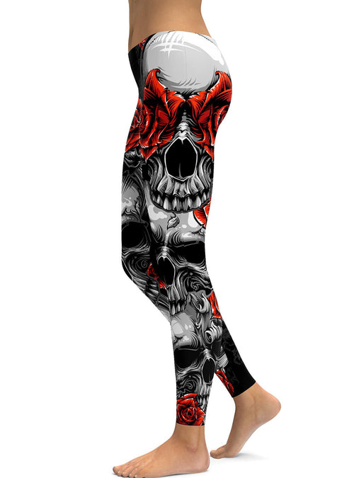 Red Rose Printed Halloween Skeleton Plus Size Sugar Skull Leggings