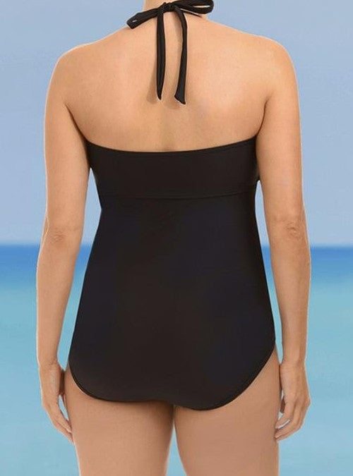 Black Halter Strappy High Cut  Plus Size Halter One Piece Swimsuit