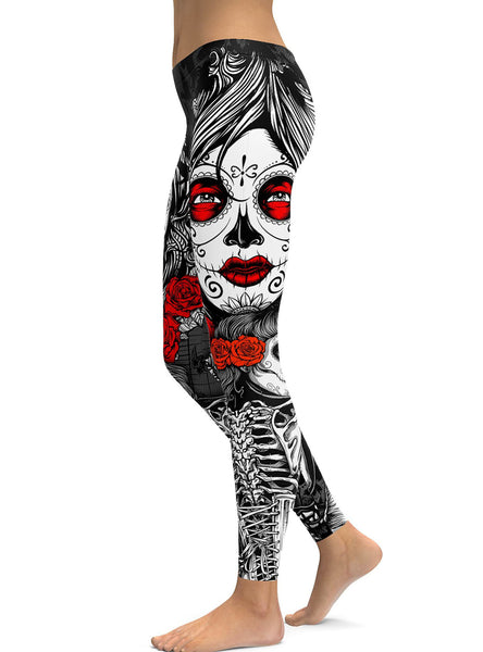 0bebc3a9568 Black Halloween Skeleton Plus Size Sugar Skull Leggings – Plus Trendy