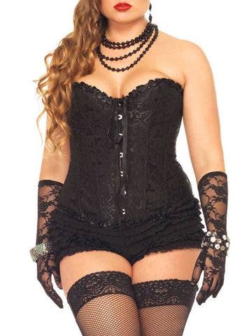 Red Floral Embroidery Lace Up Plus Size Corset