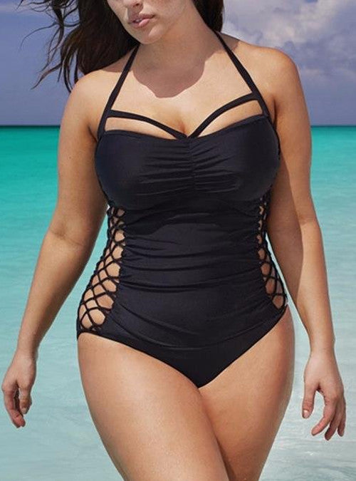 c8adf21f422 Black Halter Strappy High Cut Plus Size Halter One Piece Swimsuit
