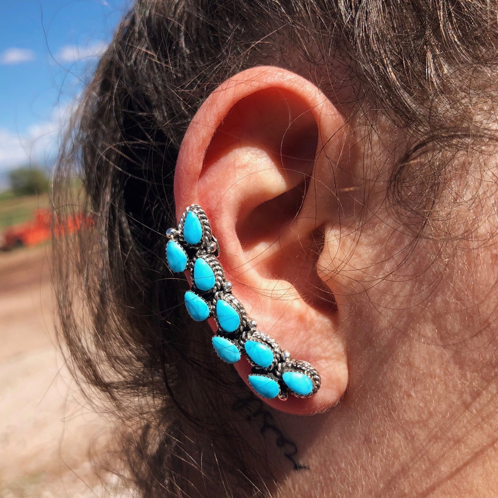 Turquoise Double Stone Ear Climber