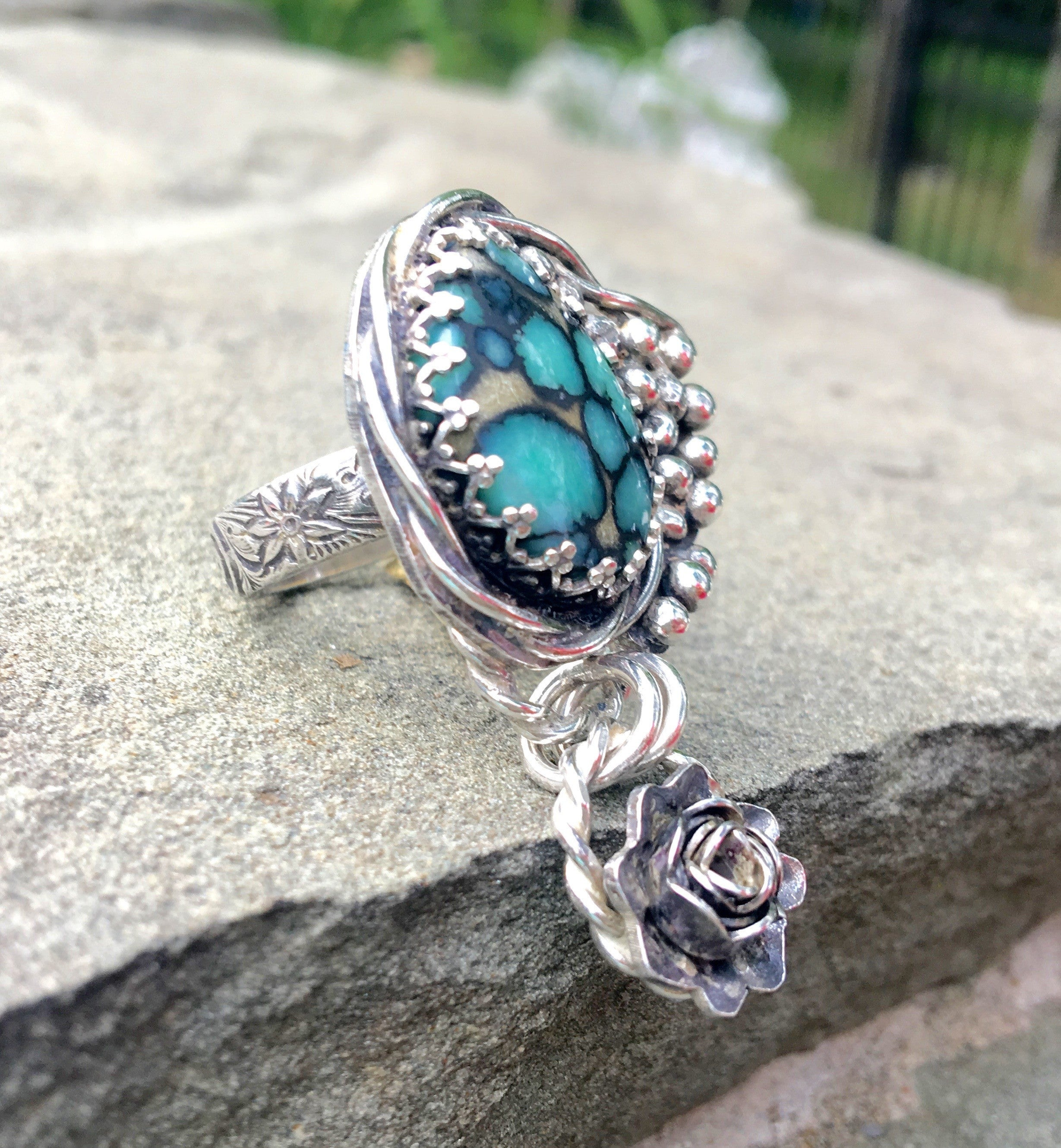 Desert Bloom Turquoise Grapevine Ring US Size 7