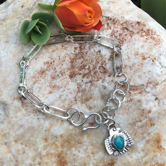 Made to Order Thunderbird charm hand wrought heavy chain sterling silver bracelet,