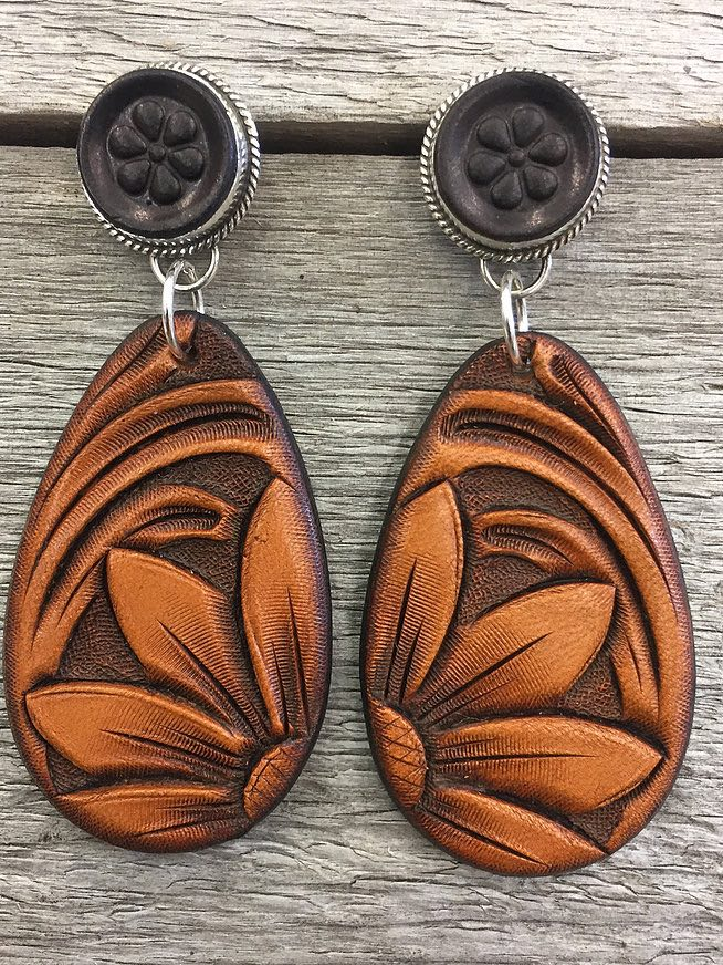 Sterling Silver + Hand tooled Leather Earrings