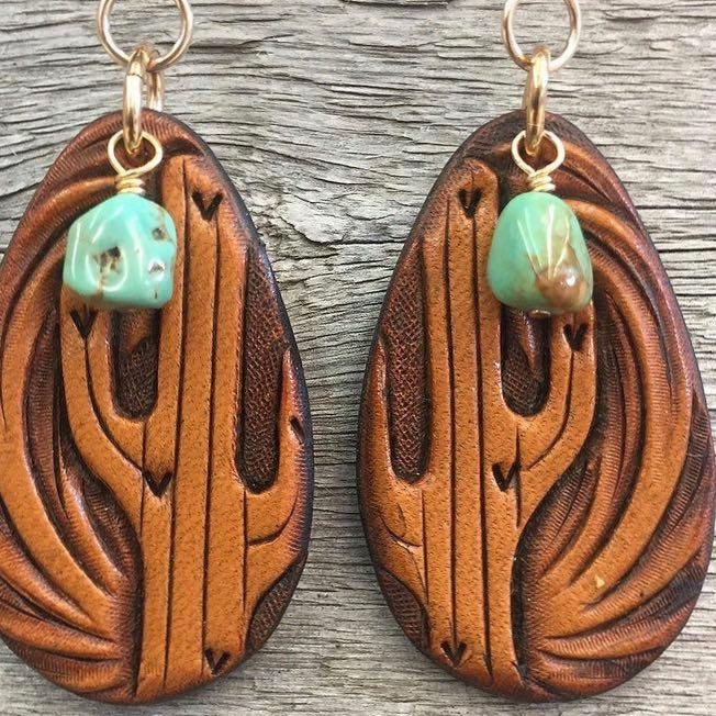 Hand Tooled Leather Saguaro Cactus Earrings