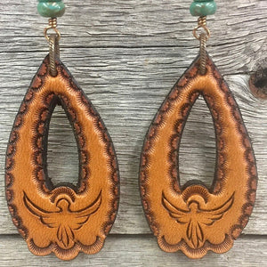 Thunderbird Turquoise Tear Drop Earrings