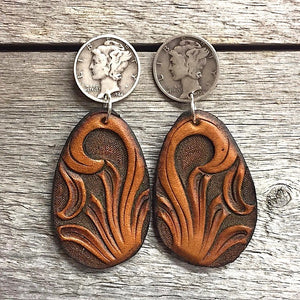 Hand Tooled Leather Coin Teardrop