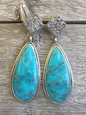 Druzy and Bisbee Turquoise Earrings