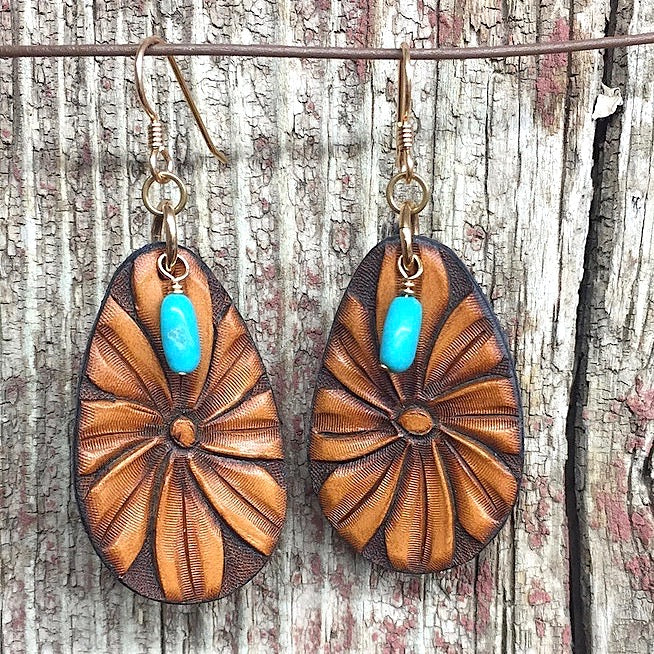 Boho Earrings- Hand Tooled Leather Daisies