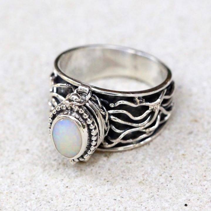 Opal Poison Box Ring