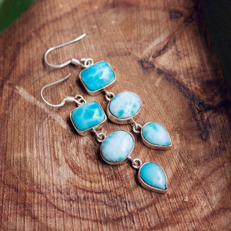 Three Stone Larimar Drop Earrings