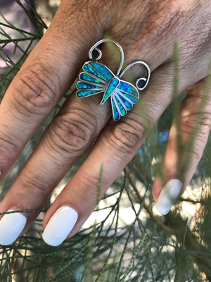 Butterfly Opal Inlay Sterling Silver Ring