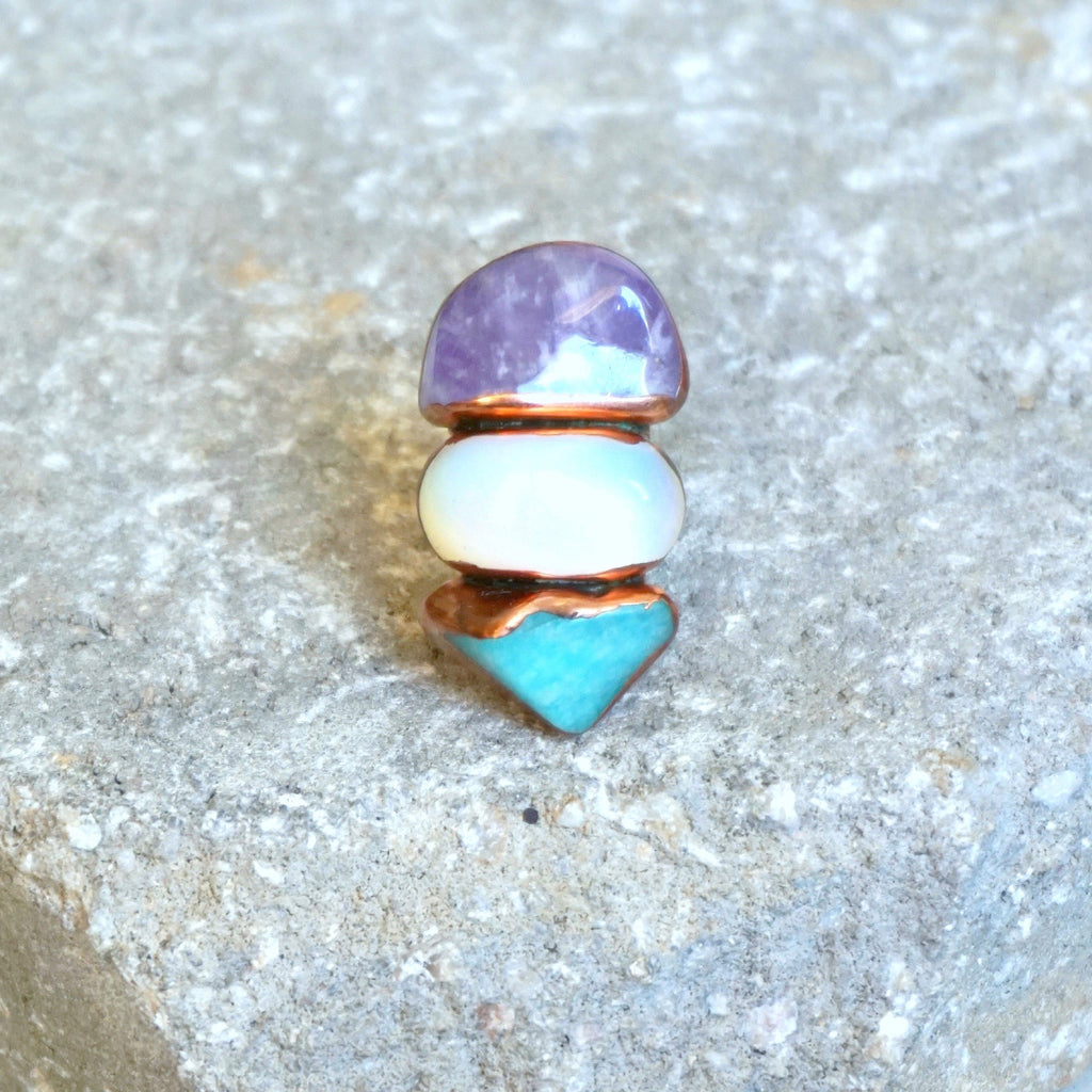 Buried Treasure 3 Stone Ring- Mix